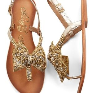 ModCloth gold bow sandals